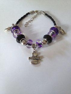 Baltimore Ravens Inspired Black Leather Bracelet w Purple, Black, Silvertone Beads