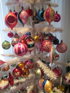 Vintage Ornaments on a white feather tree