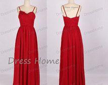 Sweetheart Long Bridesmaid Dress - Red Bridesmaid Dresses / Simple Bridesmaid Dress/Prom Dress / Simple Long Prom Dress DH149