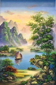 Oil Pastel Art, Beautiful Landscapes, Art Pictures, Jigsaw Puzzles, Canvas Art, Backgrounds, Mountain, Paintings, Wallpaper