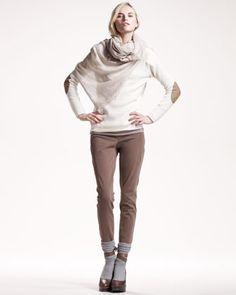 Brunello Cucinelli Ribbed Paillette Pullover, Fine-Rib Scoop-Neck Top, Metallic-Trim Scarf & Riding-Pant Leggings - Neiman Marcus