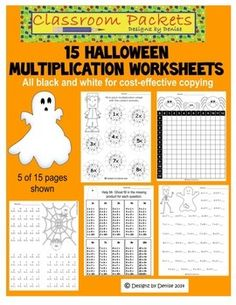 This set includes 15 Halloween-themed worksheets to practice multiplication. All pages are completely black and white for cost-effective printing.