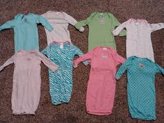 0-6 MONTHS NIGHT GOWNS SLEEPERS LOT OF 9 GIRLS & BOYS NWOT #GERBER #OnePiece