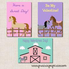 Horse Valentine Cards Kids Printable Valentines by prairiepaperco, $6.00  www.prairiepaperco.com  www.facebook.com/prairiepaperco