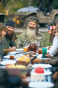 Duck Dynasty FAMILY | Missy Robertson, far left, shares a meal with her Duck Dynasty family.
