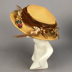 LOT 508 TWO WIDE-BRIM STRAW HATS, 1905 - 1915 - whitakerauction Country Hats, Hat Decoration, Edwardian Era, Victorian, Cloth Flowers, Blue Feather, Wide-brim Hat, Hat Hairstyles, White Silk