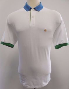 Brooks Brothers Polo Shirt L Multicolor White Blue Green Gold Logo Mens Size Sz* #BrooksBrothers #PoloRugby