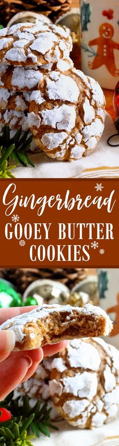 The Chic Technique: Gingerbread Gooey Butter Cookies ~ Pure Christmas deliciousness! Melt-in-your-mouth Gingerbread Gooey Butter Cookies Baked for the Christmas holiday. Holiday Cookies, Holiday Baking, Christmas Desserts, Christmas Goodies, Christmas Treats, Just Desserts, Delicious Desserts, Yummy Food, Tea Cakes