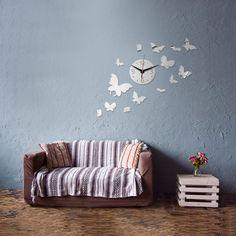 Bricolaje decoración del hogar espejo reloj de pared de acrílico de la mariposa del vuelo 14