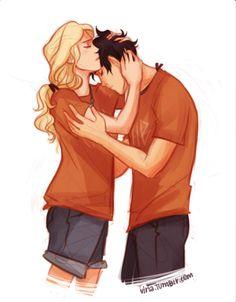 Percy Jackson and Annabeth's romantic loving embrace