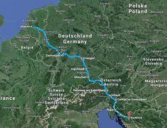Tijdens het kiezen van de leukste tussenstops op weg naar Kroatië wordt eerst de route in stukken geknipt.