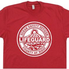 Maui Lifeguard T Shirt Vintage Hawaii T Shirt Vintage Surfing T Shirt... ($14) ❤ liked on Polyvore featuring tops, t-shirts, silver, women's clothing, print shirts, vintage t shirts, red t shirt, vintage shirts and vintage tees