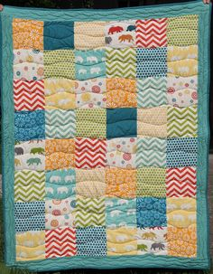 Baby-Quilt for Twins with birch fabric #1