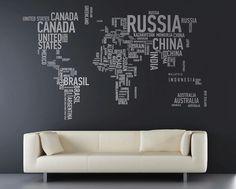 Leuk idee voor muur, wereldkaart in letters