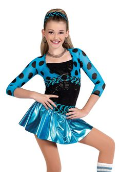 V1359 - Did Ya - Look great for less with this turquoise sequin dot dress over hot pants with polka dot mesh midriff top.
