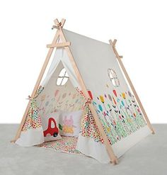 love tree Children Square Teepee-Green And White Strip Play Tent-Preassemble-For Kids,Christmas Gift