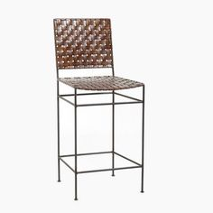 """William Sheppee SAD162 Saddler 26"""" Iron and Woven Leather Counter Stool by William Sheppee. $222.32. SAD162 Features: -Counter stool.-Handcrafted.-Dry dust or use leather wipe for cleaning. Construction: -Constructed of genuine woven leather on iron frame. Color/Finish: -Frame finish: Black. Dimensions: -Seat height: 26''. Collection: -Saddler collection."""
