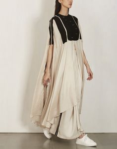 White with Black Patched Silk Cape-Anamika Khanna
