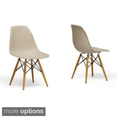 Azzo Beige Plastic Mid-Century Modern Shell Chairs (Set of 2) $140.99