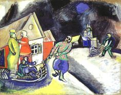 'Snow, Winter in Vitebsk'  Marc Chagall    Date:      1911  Medium:      Gouache on cardboard