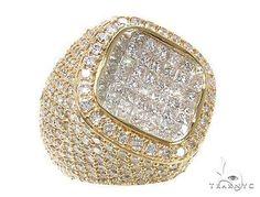 Mens Ladies Women Diamond 14k Gold Princess Cut F Color Ring 9.00ct