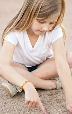 Personalized RAW Amber Stretch Bracelet with CUSTOM INITIAL TAG