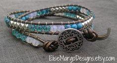 Chan Luu inspired 2-Wrap Leather Bead Bracelet - turquoise, Checz glass & Tibetan silver bead bracelet. $29