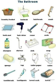 English vocabulary : the bathroom English Time, English Course, Learn English Words, English Study, English Class, English Lessons, English Idioms, English Vocabulary, English Grammar