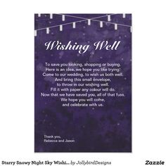 Starry Snowy Night Sky Wishing Well Card design with theme Our Wedding, Wedding Ideas, Small Envelopes, Winter Wedding Invitations, Wishing Well, Abstract Watercolor, Night Skies, Save Yourself, Sky