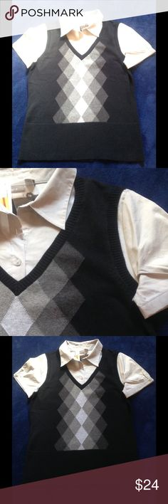 Apt9 black and grey 2 in one vest Size M NWT Apt.9 Two in one grey square button blouse, black and grey vest. Knit 100% cotton, woven 68% cotton 28% polyester, 4% spandex.from pet free, smoke free home. Apt. 9 Tops Blouses