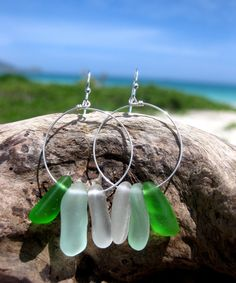 Hawaiian Aqua Blue, Emerald Green, and Clear Drop Beach Glass on 925 Sterling Silver Circular Wire Small Hoop Earrings by LindseysBeachGlass, $56.00