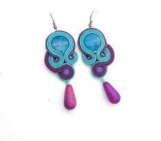 Blue Dangle Earrings Soutache Earrings Turquoise by IncrediblesTN, $29.00