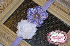Shabby headband, white & purple satin shabby headband ,  shabby flower headband, flower girl headband , wedding headband on Etsy, $10.95
