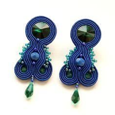 Moniq soutache - Earrings made of Swarovski crystals, beads, Fire Polish, Toho beads and silver 925