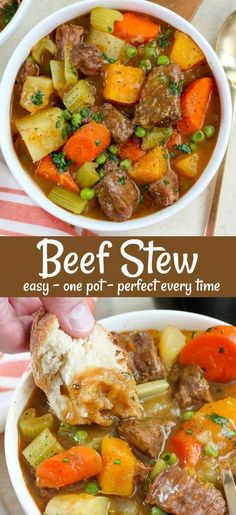 Easy and comforting Beef Stew - with a few updated twists. Tender meat and veget. Easy and comforting Beef Stew - with a few updated twists. Tender meat and vegetables in a flavorful broth, made in Beef Stew Stove Top, Easy Beef Stew, Homemade Beef Stew, Making Beef Stew, Oven Beef Stew, Beef Bourguignon, Beef Soup Recipes, Slow Cooker Recipes, Quick Recipes With Beef Stew Meat