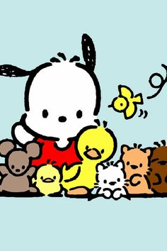 Pochacco and friends adorable background