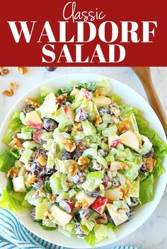 Classic Waldorf Salad Classic Waldorf Salad Recipe – the most popular salad is so easy to make at home. Fresh lettuce, crisp apples, juicy grapes and crunchy walnuts and celery make this classic a favorite. Lettuce Salad Recipes, Apple Salad Recipes, Fresh Salad Recipes, Chicken Salad Recipes, Healthy Salad Recipes, Apple Grape Salad Recipe, Best Waldorf Salad Recipe, Apple Waldorf Salad, Sauces