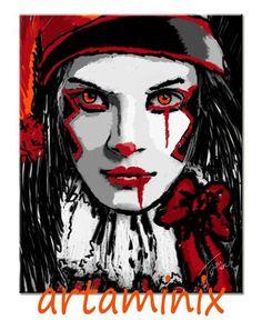 Bloody Jolly #red #blood #clown dark#halloween #handmade #art #paint