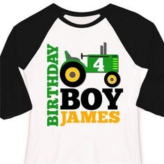 Green/White for Kash Pink/White for Kendyl birthday tractor shirt kids personalized birthday by zoeysattic, $22.50