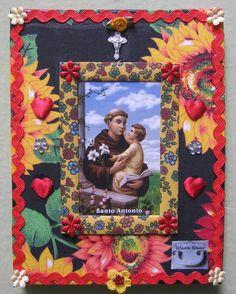 Santo Antônio Mexican Crafts, Mexican Folk Art, Fairy Box, Religion Catolica, Blessed Mother Mary, Prayer Flags, Sacred Art, Religious Art, Mandala