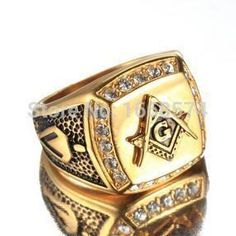 Vintage Gold Plated Titanium & Steel Masonic Ring For Men