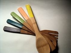 Bamboo Wooden Spoon Set, Hand Painted and Distressed, 5 piece colorful Kitchen Utensils. $30.00, via Etsy.
