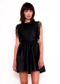 Black Magic Leather Fringed Dress