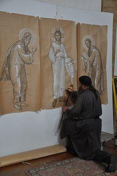 2012-09-26 at 13-04-38   St. Gregory of Sinai Monastery Workshop   Flickr Byzantine Icons, Byzantine Art, Religious Icons, Religious Art, Writing Icon, Greek Icons, Biblical Art, Painting Studio, Art Icon
