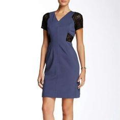 Rebecca Taylor Lace & Ponte Dress In Blue Nwt