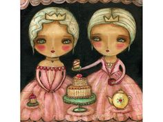 Let Her Eat Cake - Reproduction Of Original Collage Beeswax Painting By Danita Art (Paper and ACEO Wood Mounts)