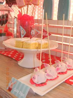 Cake pops at a Olivia the pig party #Olivia #pigparty