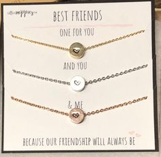 Bff Necklaces, Best Friend Necklaces, Best Friend Jewelry, Dainty Necklace, Necklace Set, Gold Necklace, Bracelets, Bff Birthday Gift, Birthday Gifts For Best Friend