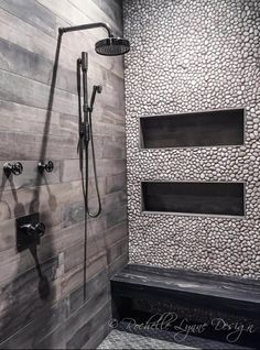 Wood look tile and pebbles in shower, bench seat of stone, large shower niches Modern Shower Design, Trendy Bathroom, Large Shower, Wood Look Tile, Bathroom Colors, Modern Shower, Wood Tile Bathroom, Wood Bathroom, Bathroom Inspiration