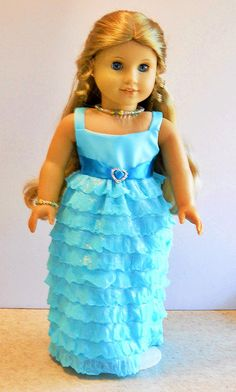 American Girl Doll Clothes - Aqua Cascading Ruffle Gown with Necklace - 18 Inch Doll Clothes